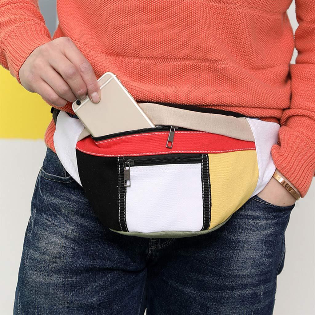 Mixed Colors Fanct Contrast Canvas Waist Bags