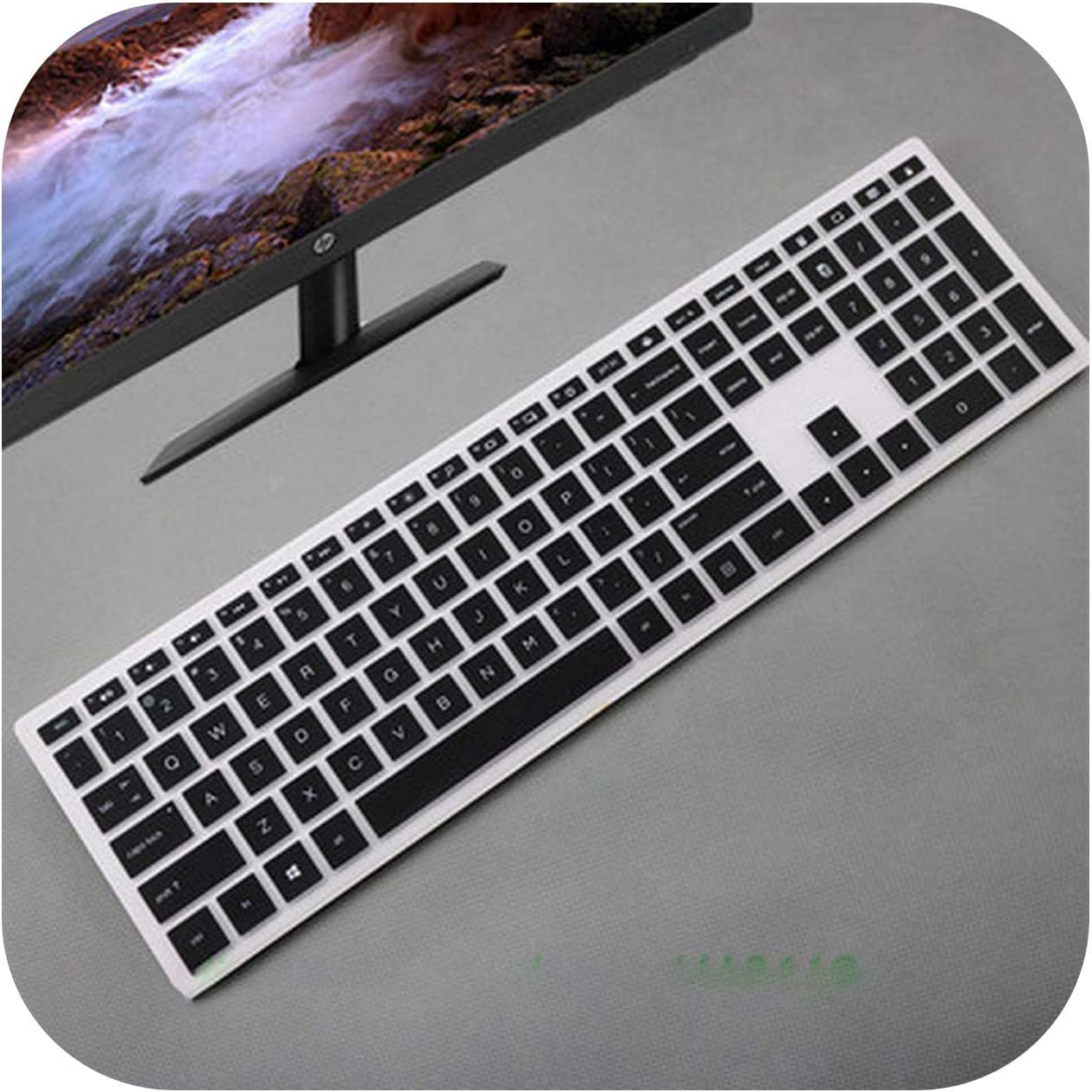 All-Equal Desktop Keyboard Cover Skin Computer for Hp Pavilion 24 Xa 24 Xa0002A 24 Xa0300Nd 24 Xa0051Hk 23.8 Inch-Black