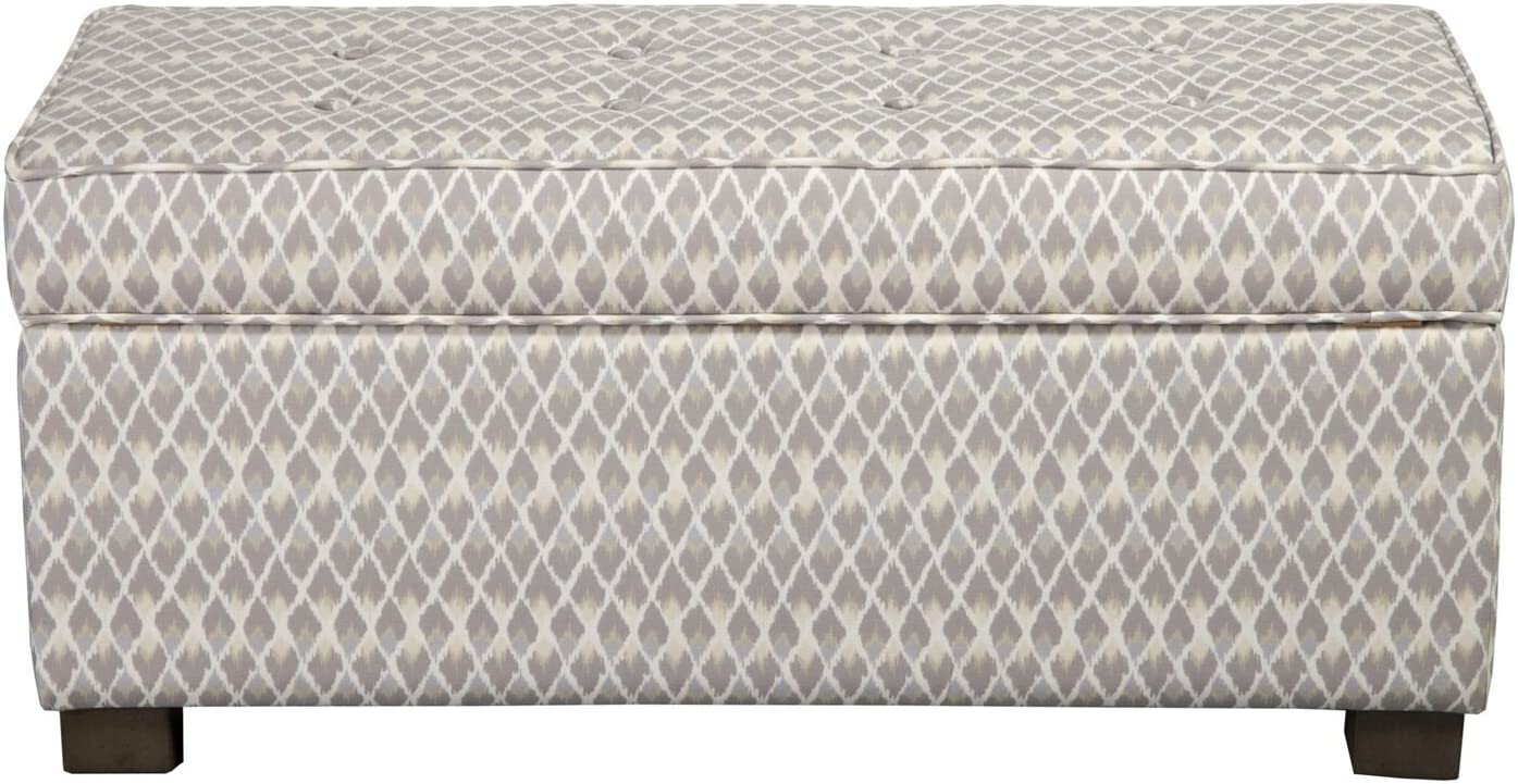 HomePop Upholstered Large Rectangle Storage Bench, Gray Diamond: Kitchen & Dining