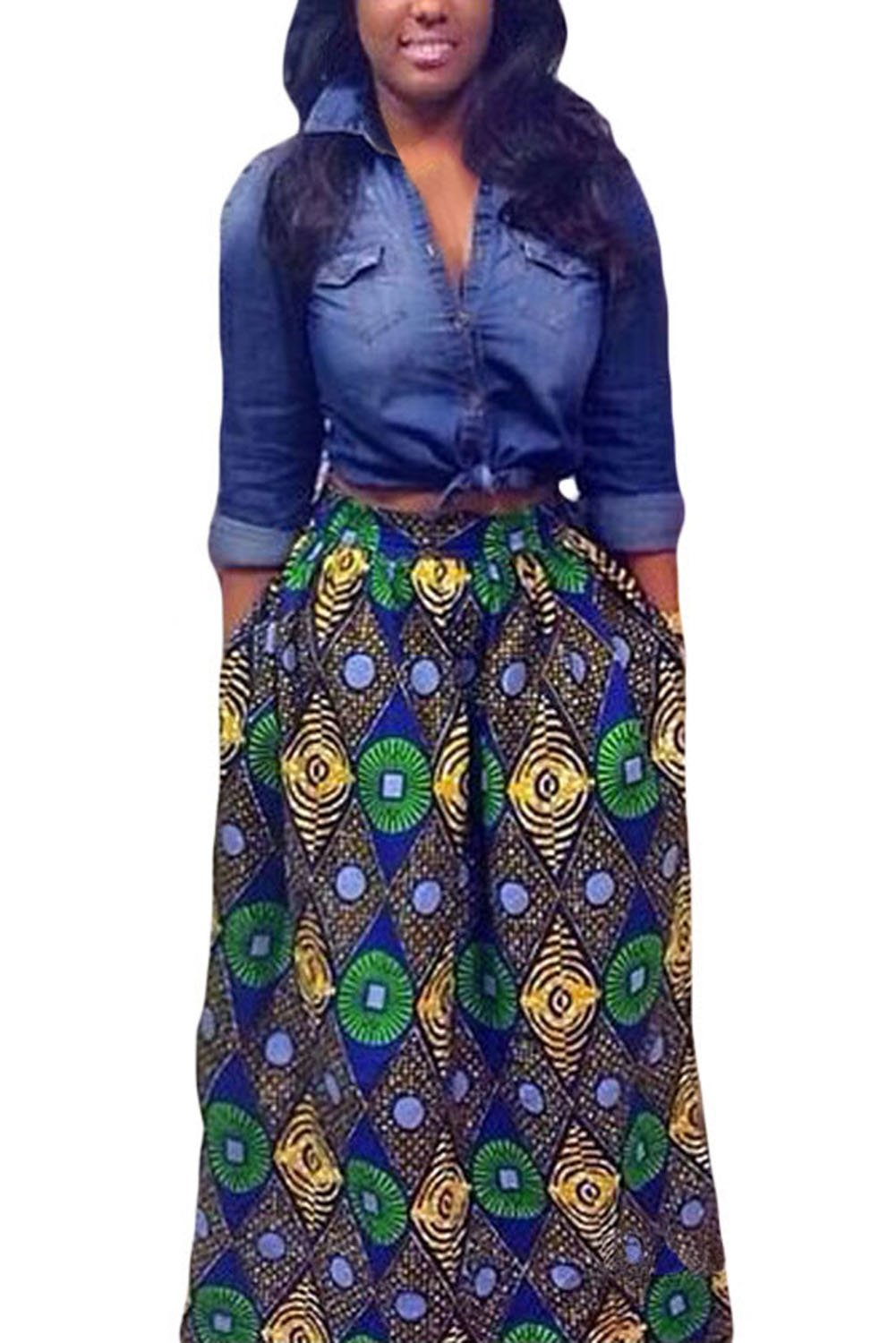 Asvivid Women's African Floral Print Maxi Skirts A Line Long Skirts with Pocket Medium Multi5