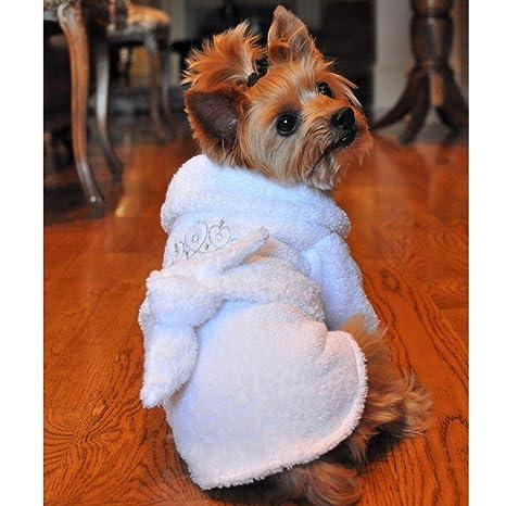 48fd091def Amazon.com   White Silver Tiara Cotton Dog Bathrobe (Small)   Pet ...