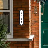 """Whitehall Products Nite Bright Address Sign, 16"""" x 4.5"""", Black Numbers White Reflective Background"""