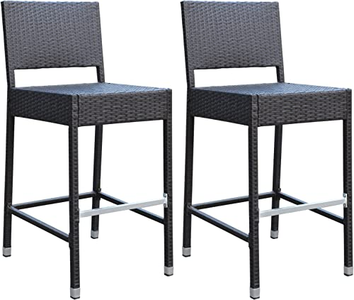 Strong Camel Dark Coffee Wicker Barstool Indoor Outdoor Patio Furniture All Weather Bar Stool-2 pcs