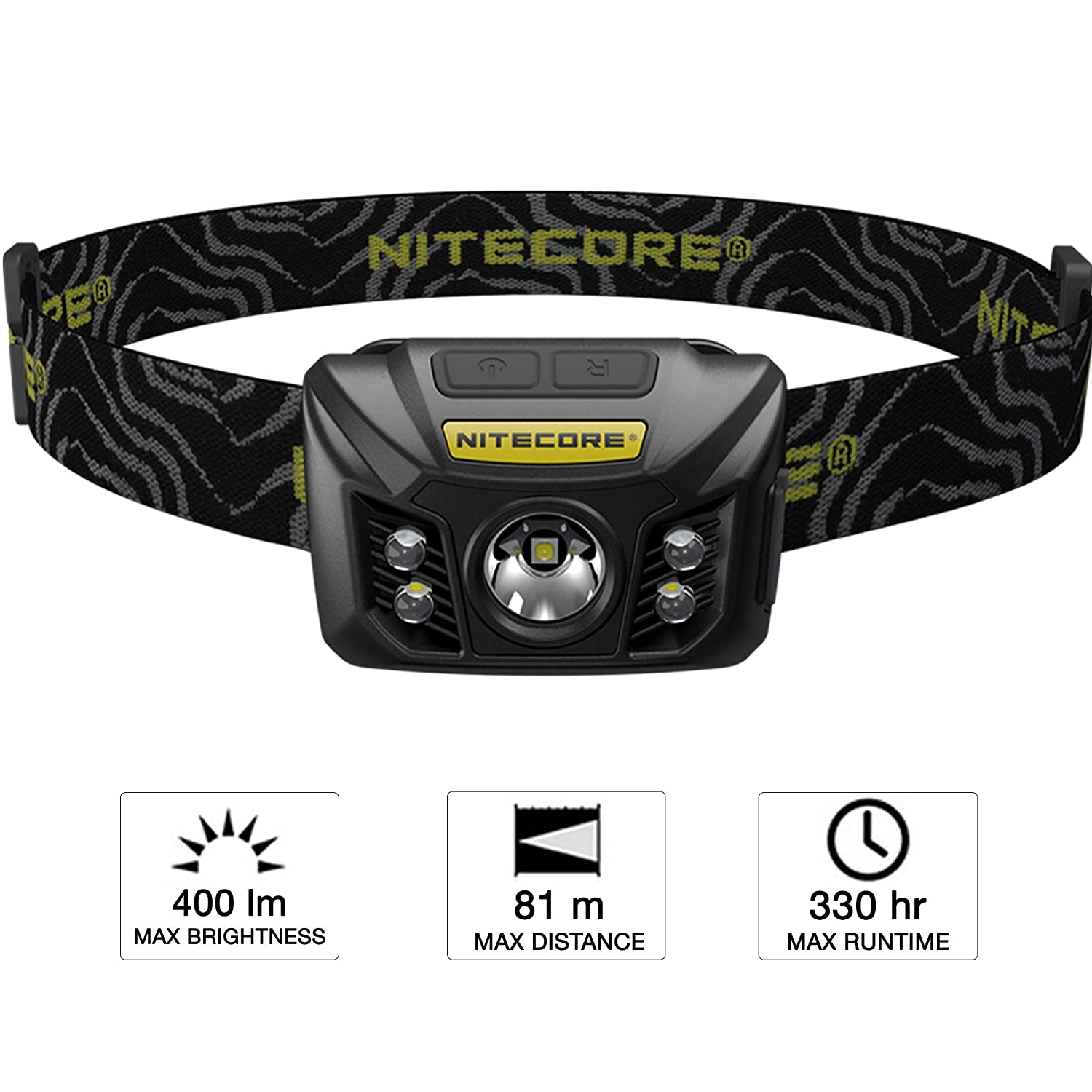 Nitecore LED Head Torch USB Rechargeable Waterproof Super Bright CREE 400 Lumens plus Red Light with Built-in Li-Ion Battery IP67 Dust and Water Resistant Headlamp NU30 @ Manventure UK