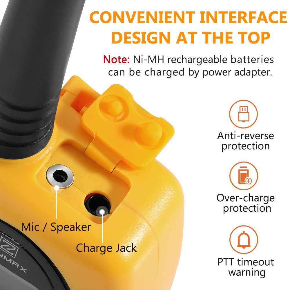 Walkie Talkies Two Way Radios, Handheld Talkies Talky Toys for Kids, 22 Channel 3KM(1.9MI) Quality Sound Interphone Long Range for Outdoor Camping Hiking, 2 Pack Yellow by Z ZANMAX (Image #2)