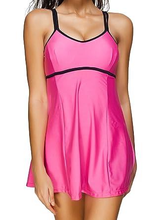 Yours Clothing Women/'s Plus Size Black /& Pink Contrast Contour Swimsuit