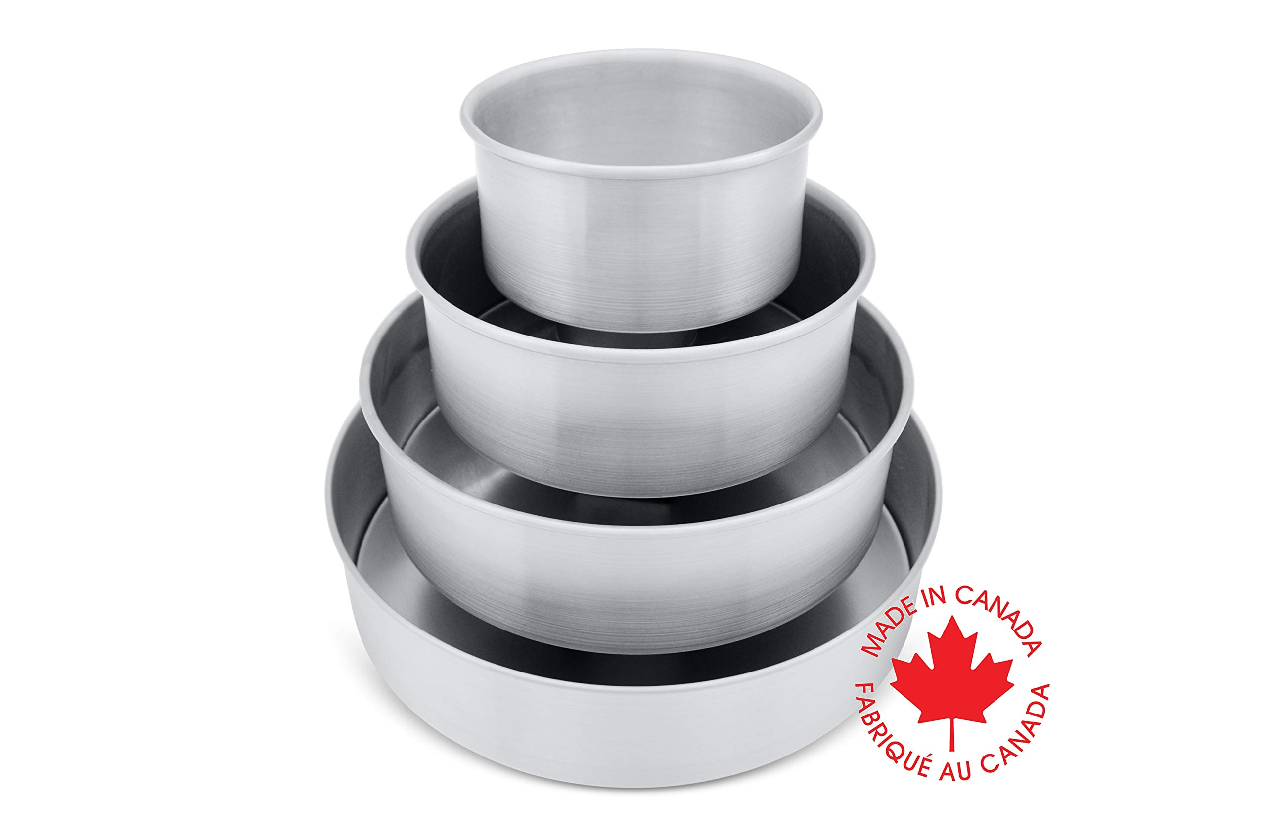 Crown 4-piece Round Cake Pan Set, 6, 8, 10, 12 inch, 2 inch deep, Professional Quality Cake Pans, Heavy Gauge, Extra Sturdy, Food Grade Aluminum, 6 inch Cake Pan included by Crown Cookware