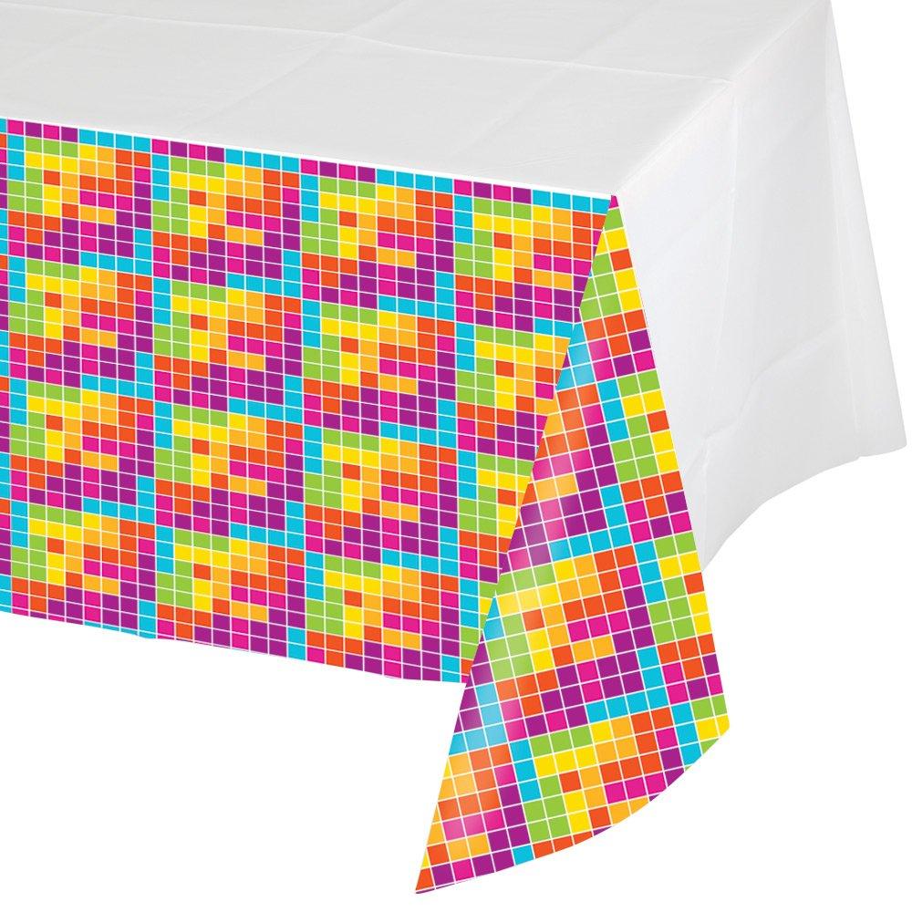 Creative Converting 725599 Border Print Plastic Tablecover, 54 x 102'', Get Nerdy