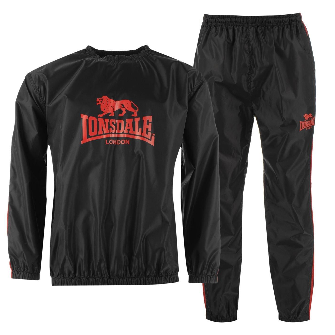 Lonsdale Mens Lightweight Sweatsuit Sauna Suit Jumper Bottom