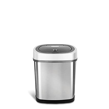 Ninestars Dzt 12 9 Automatic Touchless Motion Sensor Oval Trash Can, 3.2 Gal. 12 L, Stainless Steel by Ninestars