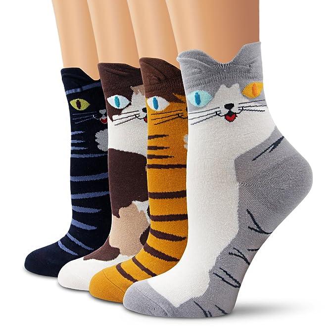 e65337fe8dad8 Ambielly calcetines de algodón calcetines térmicos Adulto Unisex Calcetines  (4 Gatos)