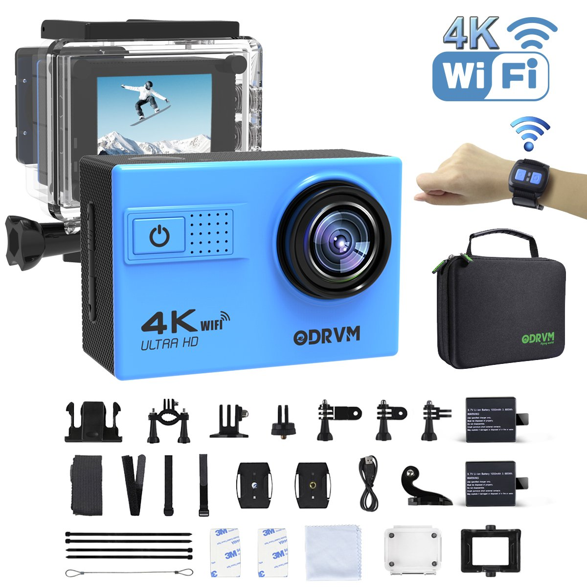 4K WIFI Action Camera Remote Waterproof 30m Underwater Camera Ultra HD 20MP Water Camera With 18 Accessories Kits for Diving,Surfing,Snorkeling,Skiing,Motorcycle,Kids and Water Sports