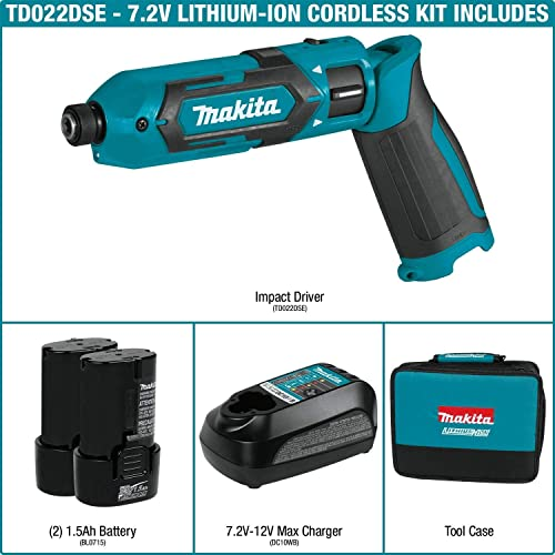 Makita TD022DSE 7.2V Lithium-Ion Cordless 1 4 Hex Impact Driver Kit