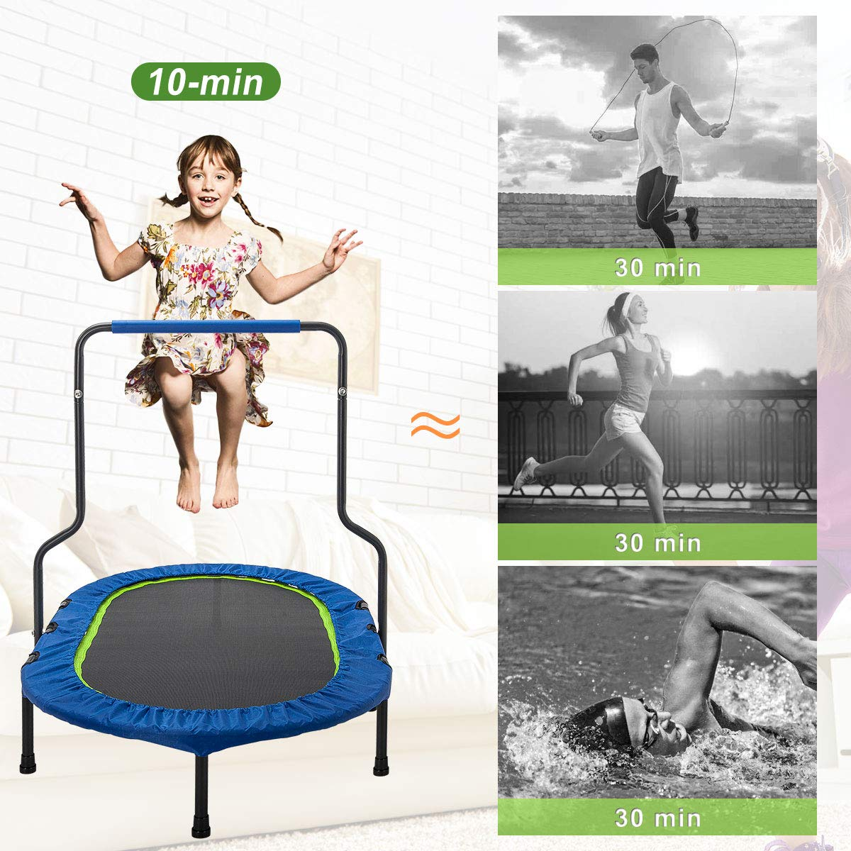 Merax Mini Rebounder Trampoline with Handle for Two Kids, Parent-Child Trampoline (Blue) by Merax (Image #5)