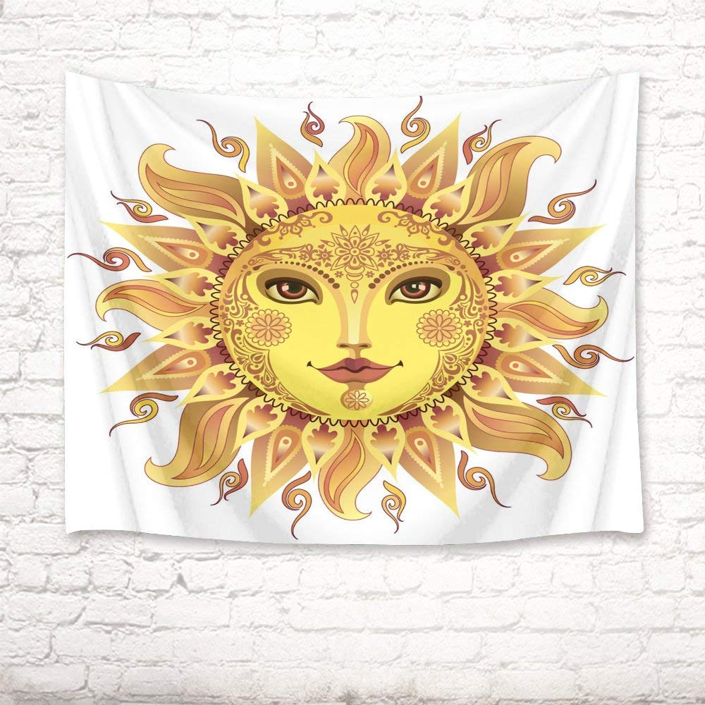 Tapestry Wall Art Decor Cartoon Sun god Wall Rug Hanging Tapestry Picnic Beach Sheet Table Cloth Home Accessory 200 Width x 150 Height cm