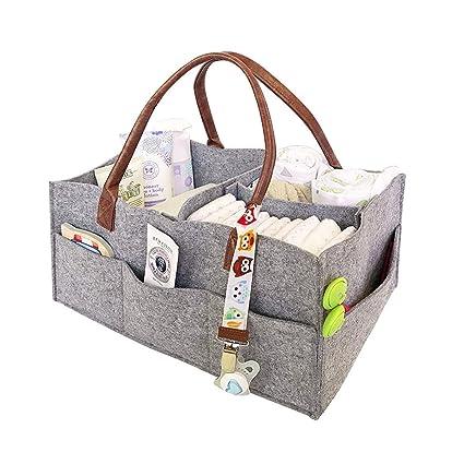 Cesta para pañales de bebé, bolsa de pañales grande portátil para viaje, organizador de viaje, ...
