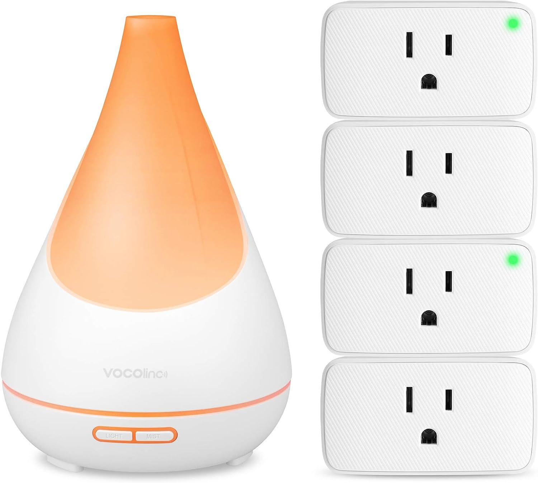 VOCOlinc Smart Oil Aromatherapy Diffuser and 4 Pack Smart Wi-Fi Plugs Bundle