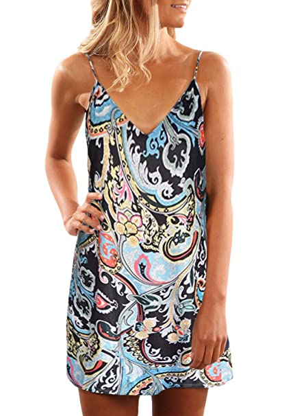 6094d3dadf62 Sidefeel Women V Neck Halter Printed Casual Short Strap Mini Dress at  Amazon Women s Clothing store