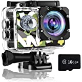 Gnolkee 4K WiFi Action Camera 16GB TF Card,16MP Underwater Video Camera 170 Wide Angle Sports Cam with Remote, 2 Batteries, 2