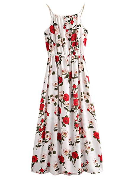 18785d1521 SheIn Women's Floral Printed Spaghetti Strap Long Dress at Amazon Women's  Clothing store: