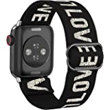 BMBMPT Adjustable Elastic Watch Band Compatible with Apple Watch 38mm 40mm 42mm 44mm, Stretchy Loop Bracelet Women Men Replac