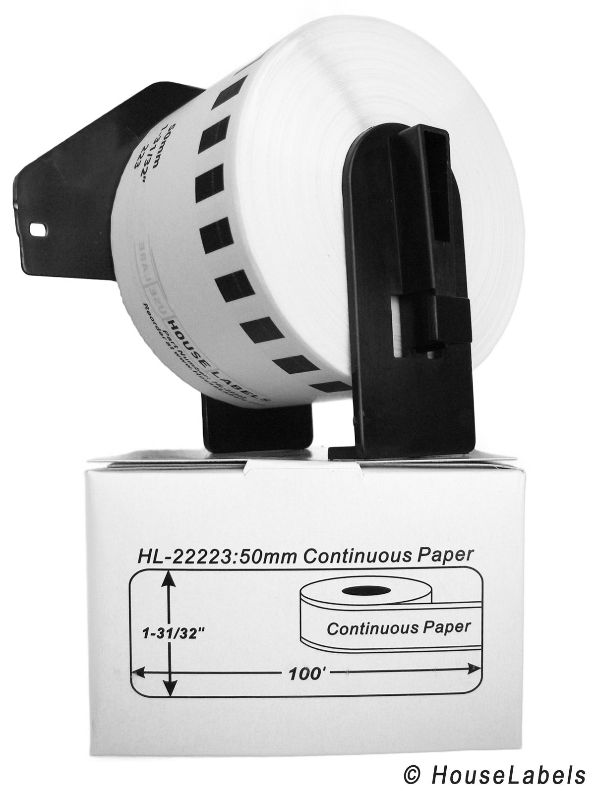 4 Rolls; Continuous Paper, BROTHER-Compatible DK-2223 Continuous Paper Labels with ONE (1) reusable cartridge (1-31/32'' x 100'; 50mm30.48m) -- BPA Free!