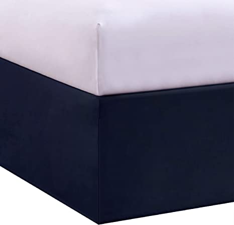 Amazon Com Levinsohn Bed Maker S Tailored Wrap Around Bedskirt Never Lift Your Mattress Classic 14 Drop Length Pleated Styling Queen Navy Home Kitchen