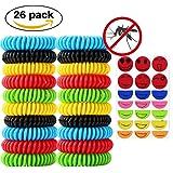 Isuper 20 Piezas de Pulsera Repelente Antimosquitos/Insectos Espiral Goma para Muñeca Tobillo Niños Adultos Multicolores Muy Eficient