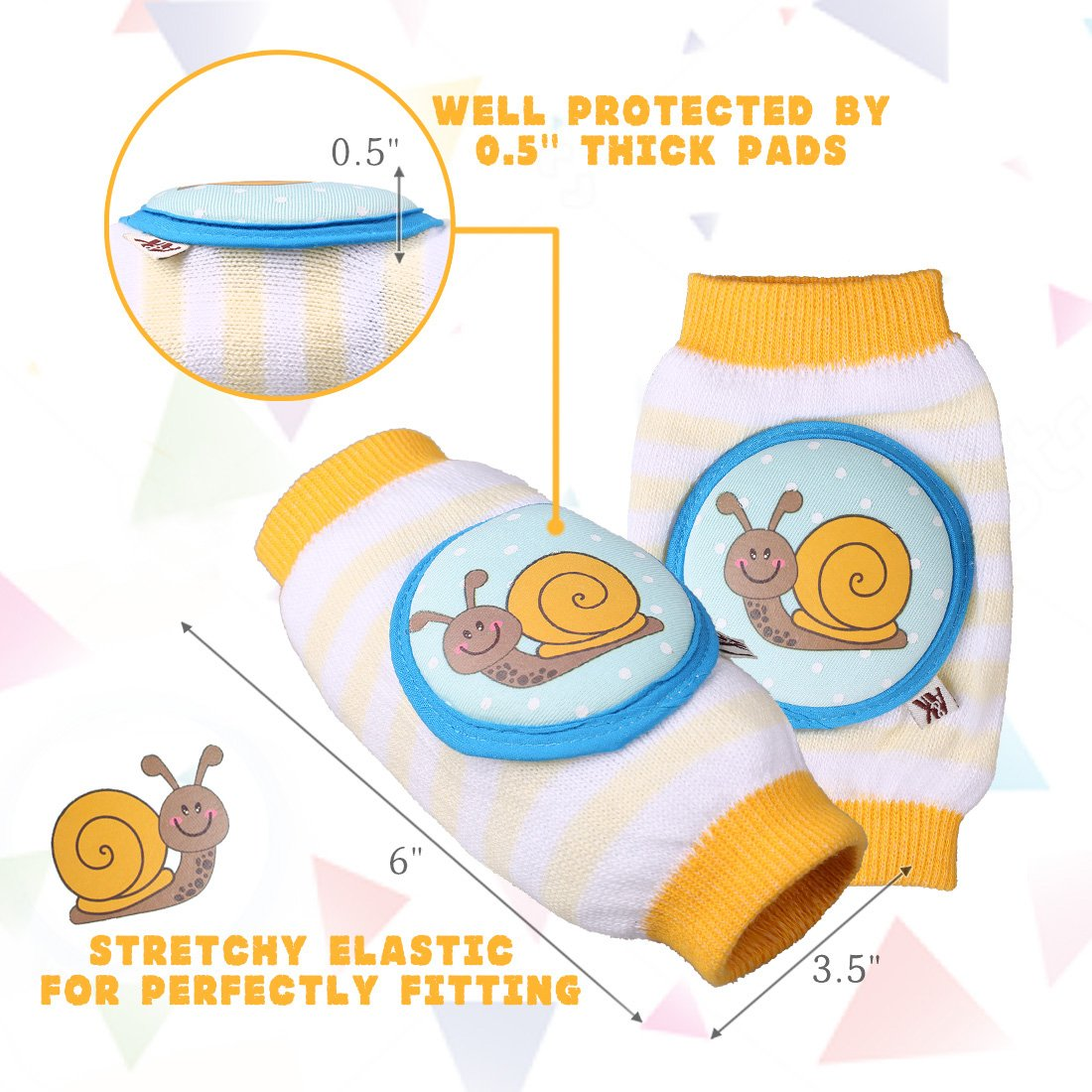 Ava & Kings Baby Knee Pads for Crawling - Babies Stuffs Gift Ideas for Infants - Protect Elbows and Legs w/Breathable Warmer Cotton and Anti-Slip Elastic - Unisex For Boys & Girls - Set of 3 by Ava & Kings (Image #4)