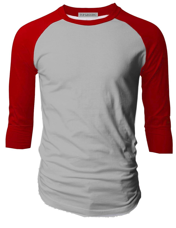 TLメンズベーシッククルーネックコットン3 / 4スリーブEssentail Raglan Baseball Teeシャツ B00YI9SM18 Medium 3/4_sl-red_hgrey 3/4_sl-red_hgrey Medium