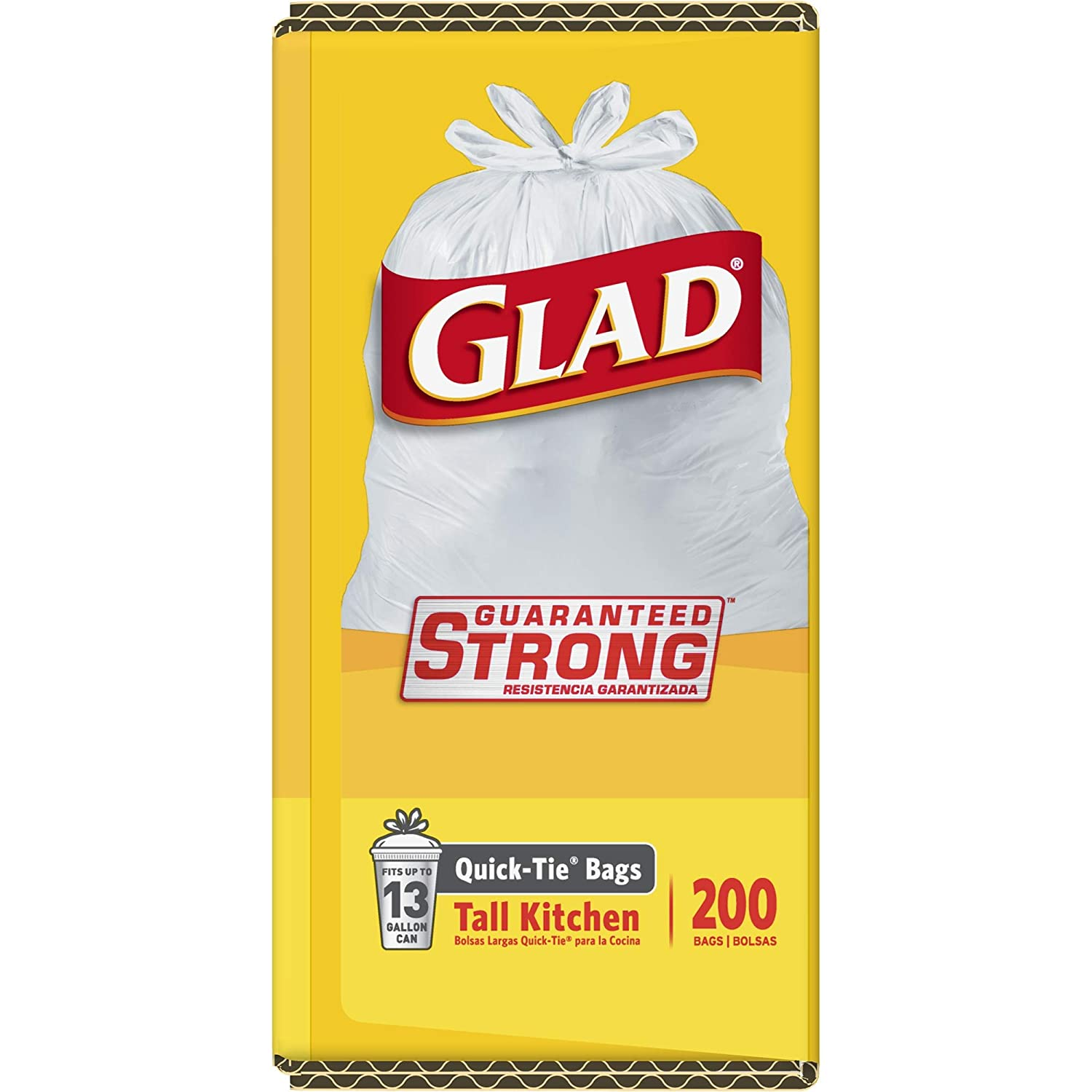 200 Count 15931 Clorox Professional Products Company 10012587159313 Glad Quick-Tie Tall Kitchen Trash Bags 13 Gallon