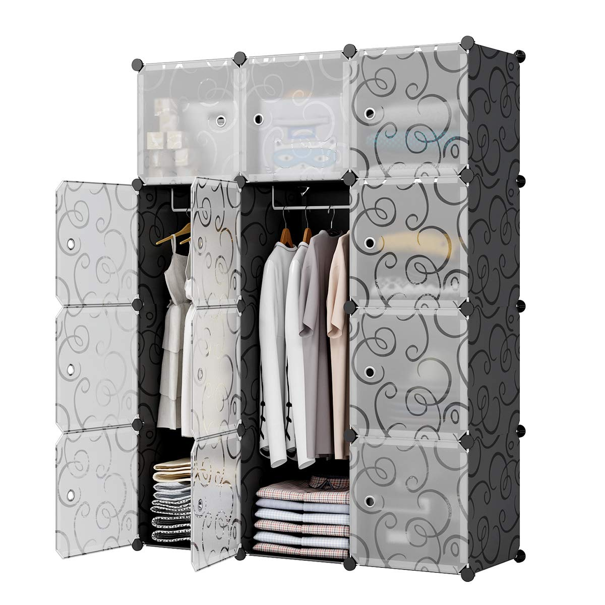 KOUSI Bedroom Armoire Portable Closet Armoire Clothes Armoire Wardrobe Armoire Storage Armoire Organizer with Doors, Capacious & Sturdy, Black, 6 Cubes+2 Hanging Sections