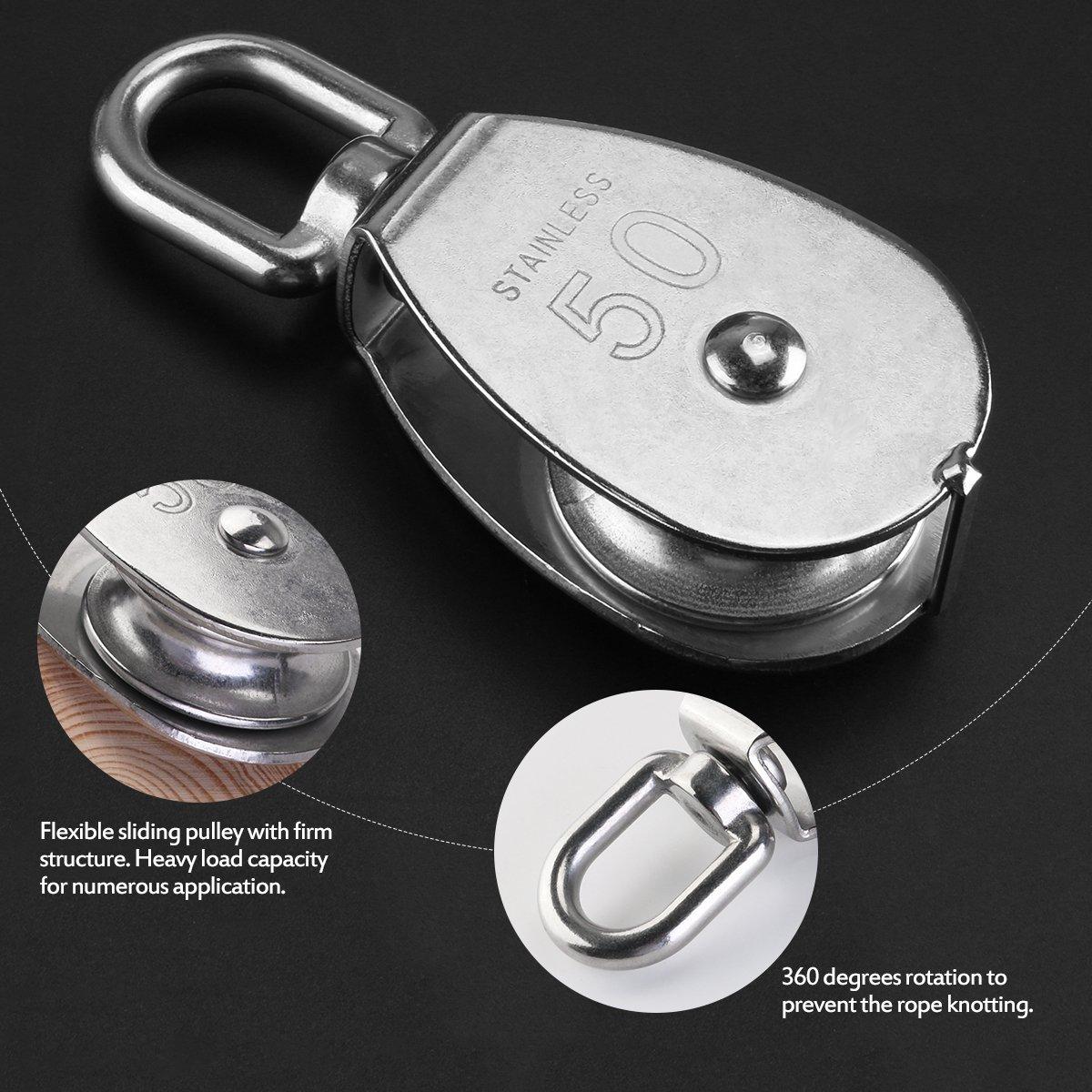 ultnice 50/mm in acciaio inox sola ruota girevole puleggia Caricamento 400/kg Argento