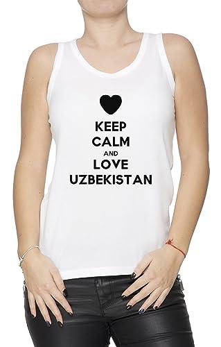 Keep Calm And Love Uzbekistan Mujer De Tirantes Camiseta Blanco Todos Los Tamaños Women's Tank T-Shirt White All Sizes