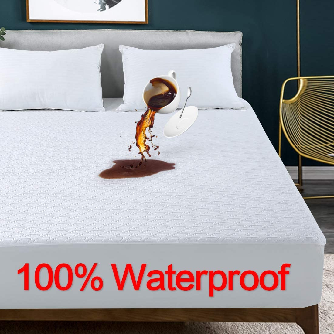 """GOPOONY Cooling 100% Waterproof King Size Mattress Protector Mattress Pad Cover Soft & Breathable Noiseless 18 Inch Extra Deep Pocket Protection Fitted 8""""-21"""" Vinyl Free (White,King)"""