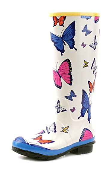 Women's White Tall Multi-Colored Butterflies Wellies Rain Boots