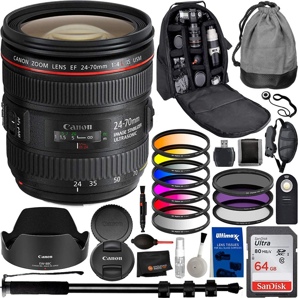 Canon EF 24-70mm f/4L is USM Lens with Professional Bundle for EOS 7D Mark II, 6D Mark II, 5D Mark IV, 5D S R, 5D S, 5D Mark III, 80D, 70D, 77D, T5, T6, T6s, T7i, SL2, and More