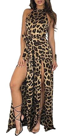 241bc00a55a1 Women Leopard Print Long Pant Romper Split Maxi Romper Jumpsuit Maxi Dress  Size M (Leopard