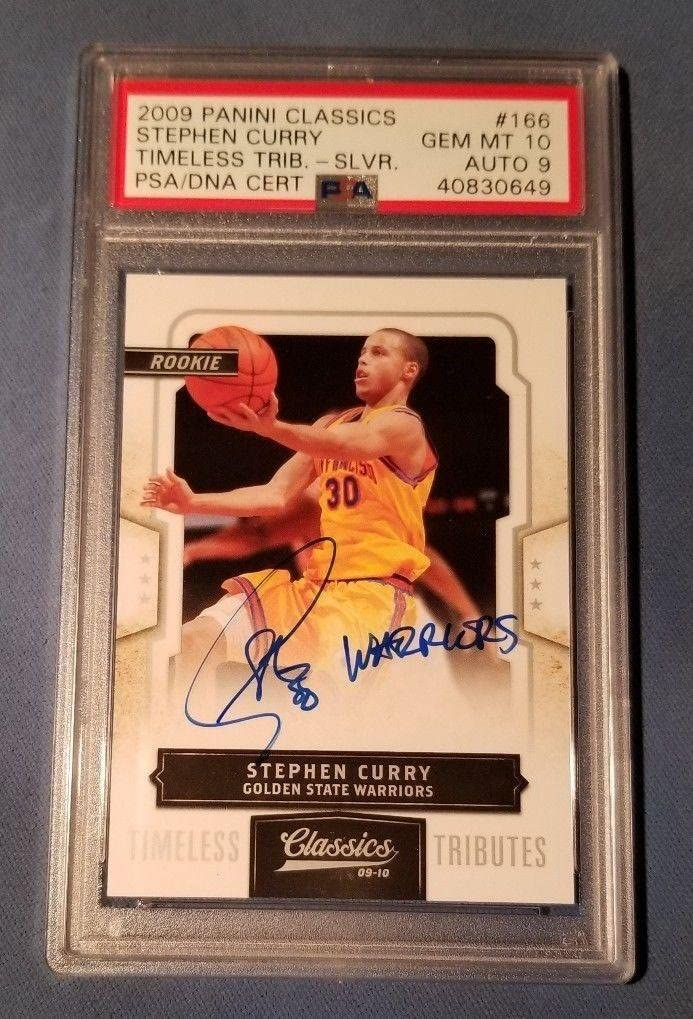2009 Stephen Curry Panini Classics Timeless Signed RC PSA GEM MINT 10 AUTO 9 - Basketball Slabbed Autographed Rookie Cards