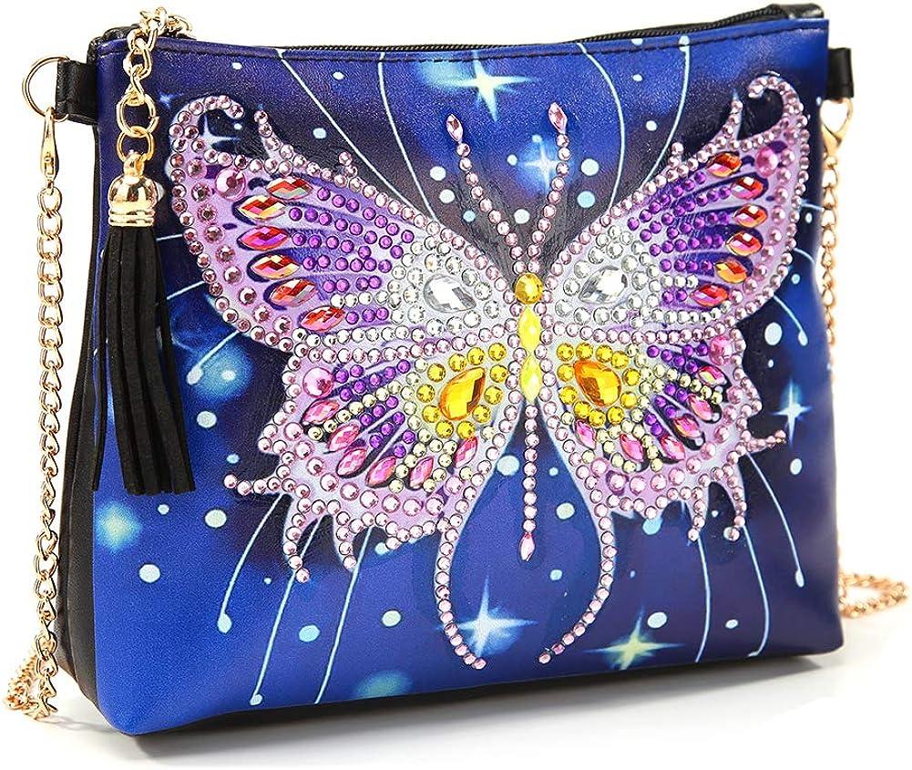 MWOOT DIY 5D Pintura Bolsa de Diamantes con Cadena,Diamond Painting Rhinestone Handbag Monederos Hechos a Mano Cuero Bandolera Bolso de Hombro para Niña Mujer (18 x 15CM)-Mariposa