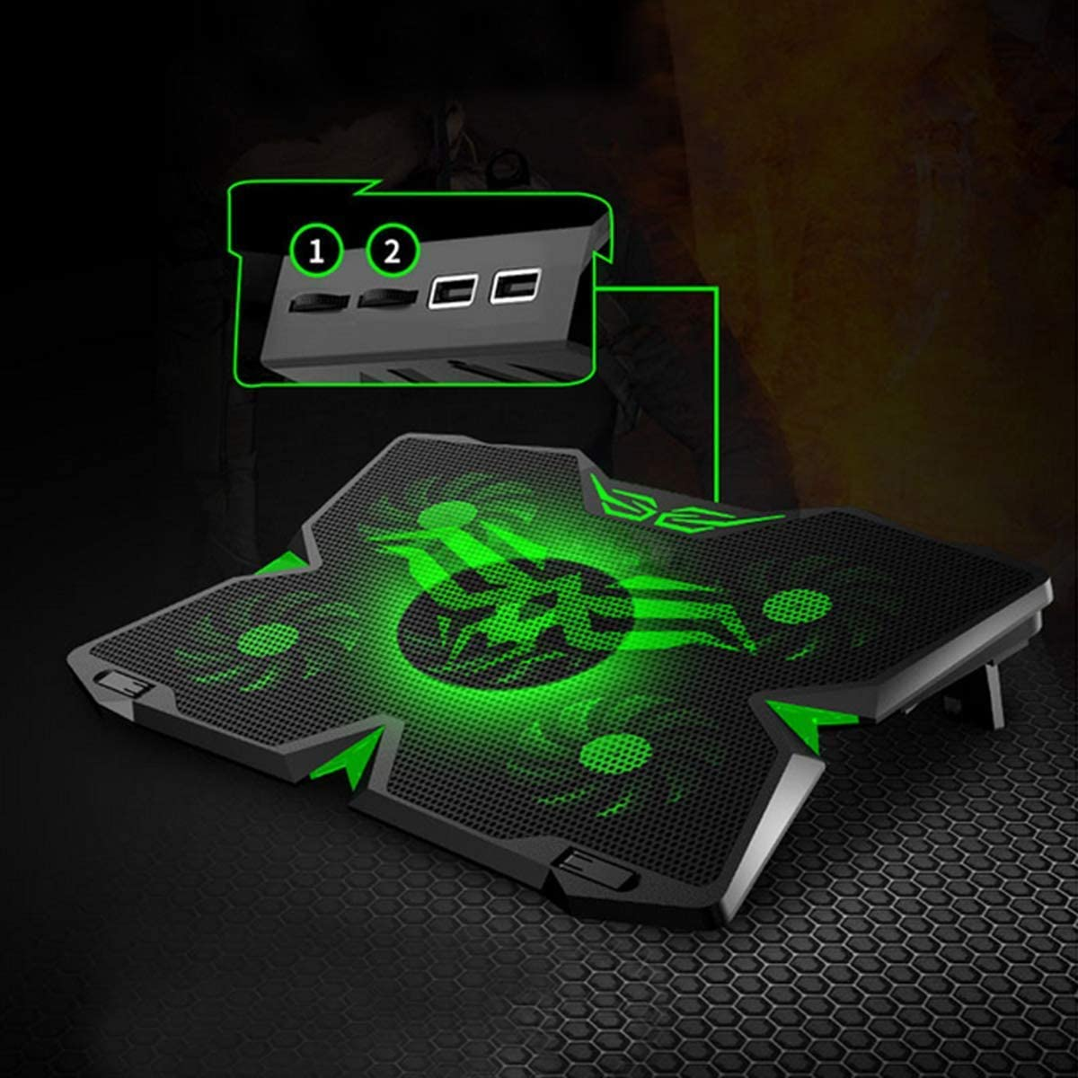 GSUMMER Notebook Cooling Pad Adjustable Mounts Notebook Stand Height Angle Strong Wind Speed Design Laptop Cooler,Green