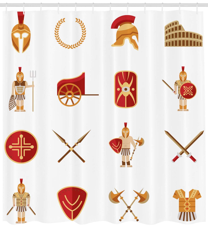 fd910cb4dd95 Amazon.com: Ambesonne Toga Party Shower Curtain, Classic Gladiators ...