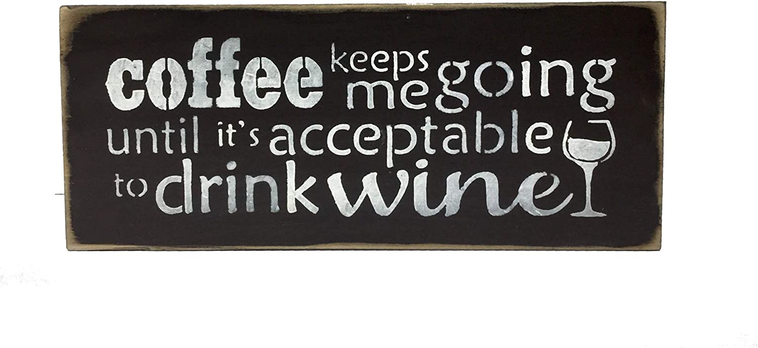 "FREE POST /""DRINK COFFEE/"" Sign Wooden Rustic Funny Plaque"