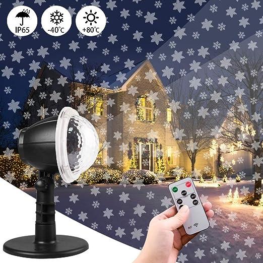 Carrep Proyector LED de nieve, luz de Navidad, efecto de luz interior/exterior, IP65, efecto de luz LED, iluminación como lámpara de jardín: Amazon.es: Iluminación