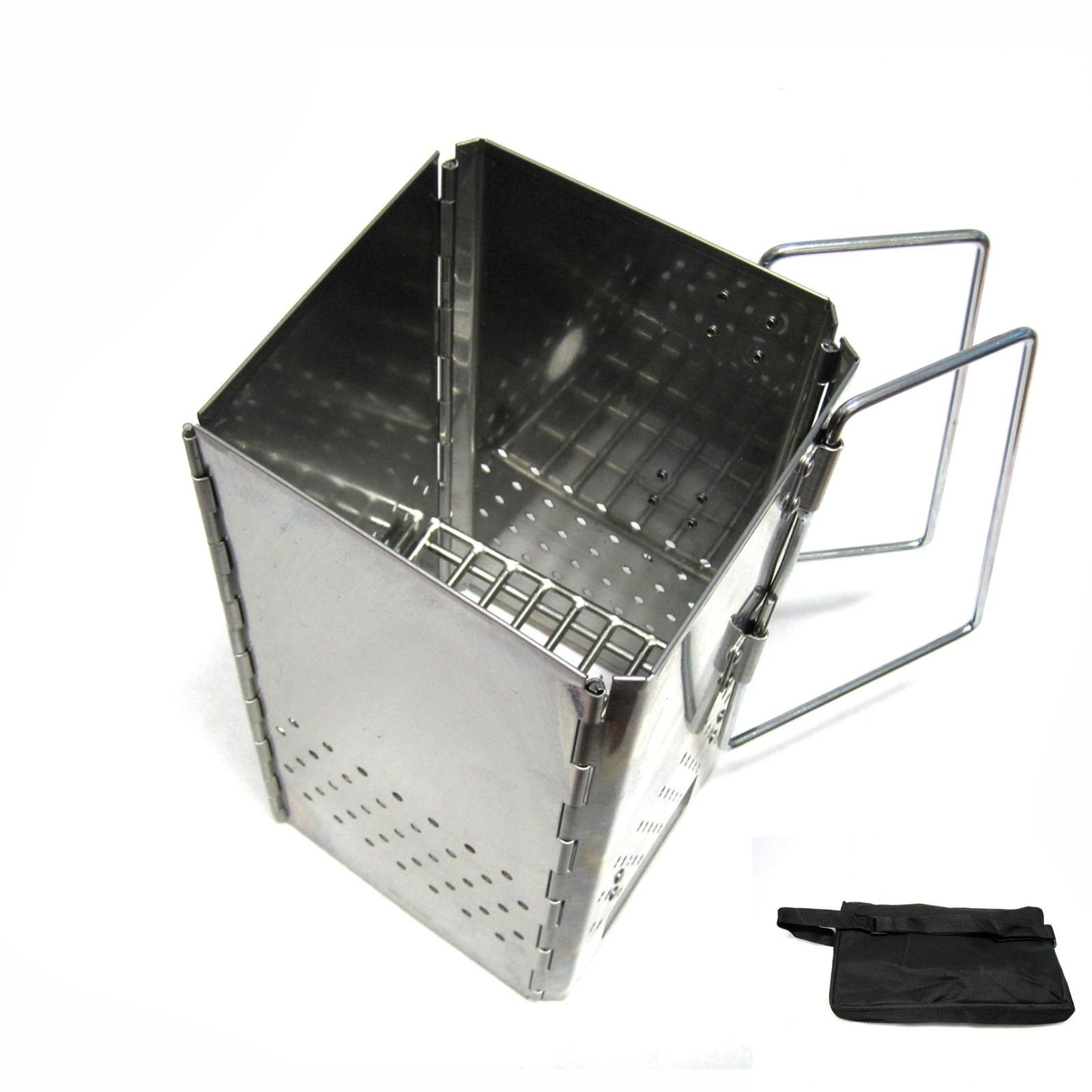 New Folding Charcoal Starter Stainless Steel Outdoor BBQ Grill Chimney Starter