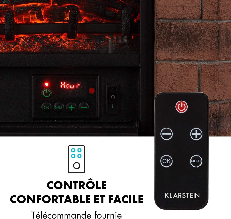 KLARSTEIN Villach Chemin/ée /électrique Simulation de Flammes 1800 W Rouge-Brun Polystone Chemin/ée /électrique D/écor de Pierre T/él/écommande
