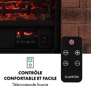 Blanc 1000//2000 W Chemin/ée /électrique radiateur KLARSTEIN Argau Smart 40 m/²,Flamme LED:7 Couleurs et 5 Niveaux de luminosit/é,WiFi: contr/ôle par Application,t/él/écommande,Thermostat:18-27 /°C