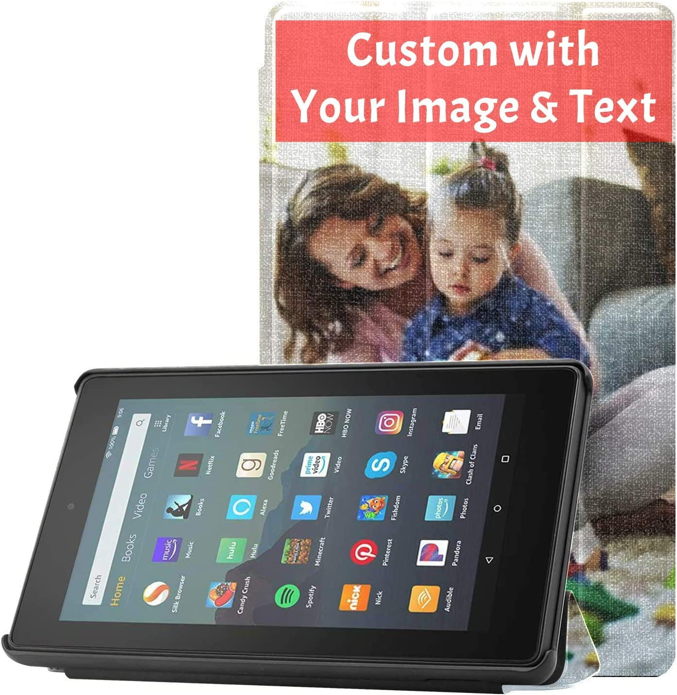 Amazon Com Custom Case For Kindle Fire 7 Inch Tablet 9th Generation 2019 Release Pu Leather Smart Cover With Auto Wake Sleep Personalized With Your Design Best Gifts For Birthday Anniversary Mother S Day Mp3