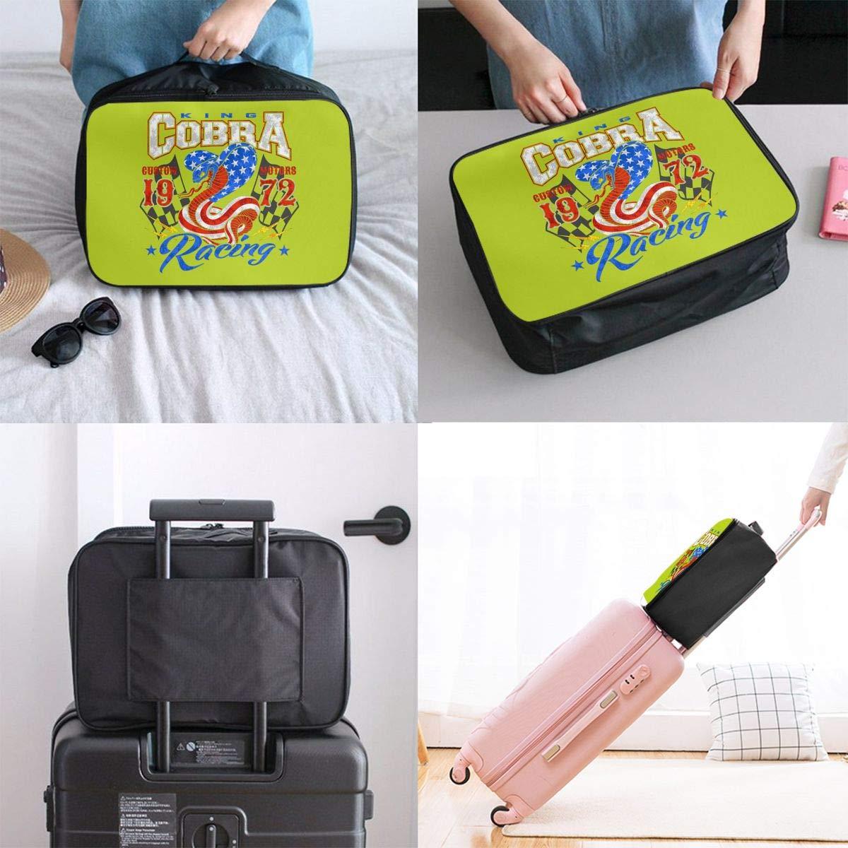 Travel Duffel Bag Waterproof Lightweight Large Capacity Duffel Tote Bag King Cobra Motor Racing Graphic Portable Weekender Bag For Travel Camping Sport