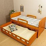親子ベッド 2段 ホワイト 親子ベット 収納式 ツインベッドフレーム スライドベッド シングル 二段ベッド すのこベッド (茶色)